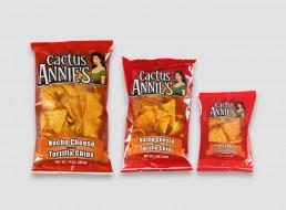 Cactus Annie's Nacho Cheese tortilla chip packaging design
